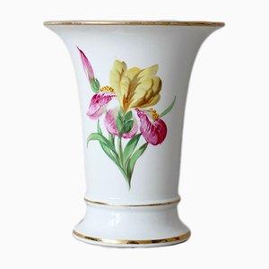 Vase Antique en Porcelaine avec Décoration Florale de Meissen