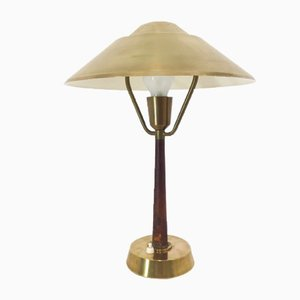 Brass & Leather Table Lamp by AB E. Hansson & Co Malmö, 1950s