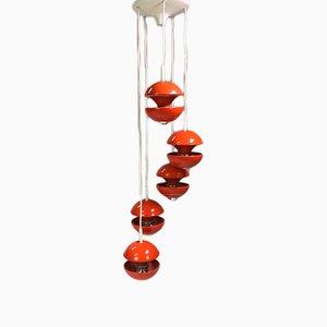 Lámpara de araña en cascada era espacial naranja de Klaus Hempel para Kaiser Leuchten, 1972