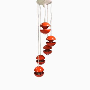 Space Age Orange Cluster Chandelier by Klaus Hempel for Kaiser Leuchten, 1972