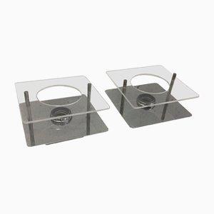 Wandleuchten aus Stahl & Plexiglas, 1970er, 2er Set