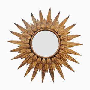 Specchio a forma di sole vintage dorato, anni '60