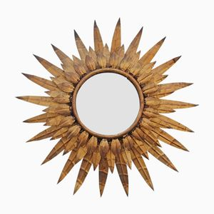Vintage Sun Mirror in Gold, 1960s