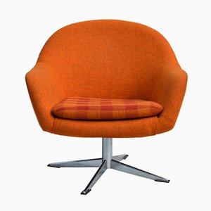 Sillón giratorio Mid-Century retro de lana naranja