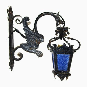 Lampada da parete in ferro battuto, XIX secolo