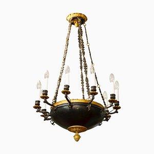 Lámpara de araña imperial antigua dorada