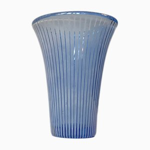 Scandinavian Modern Striped Glass Vase from Kosta Boda, 1950s