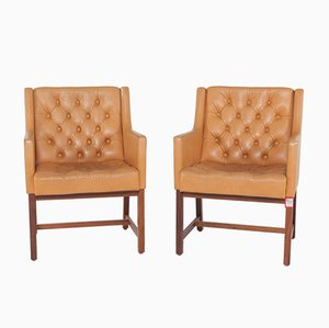 Mid-Century Capitoné Leather Armchairs by Karl Erik Ekselius for JOC Vetlanda, Set of 2
