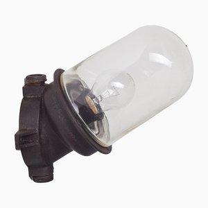 Braune Wandlampe aus Bakelit & Industrieglas, 1950er
