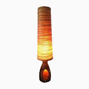 Lampada da terra grande in ceramica, corda e resina di Accolay, anni '60