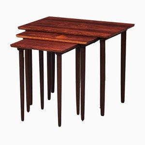 Tavolini ad incastro in palissandro di HW Klein per Bramin Møbler, Danimarca, anni '60, set di 3