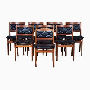 Dänische Esszimmerstühle aus Teak, 1950er, 8er Set