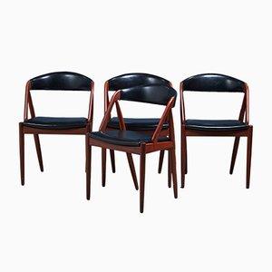 Dänische Modell 31 Esszimmerstühle aus Teak von Kai Kristiansen, 4er Set