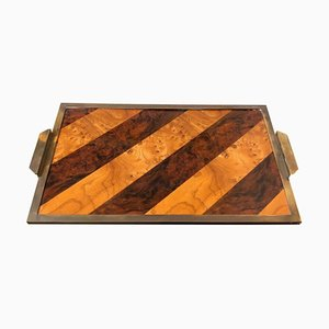 Mid-Century Wood & Brass Tray