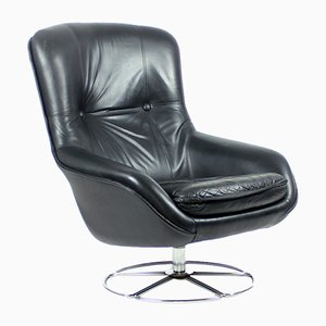 Black Leather Swivel Armchair from PeeM, 1960s