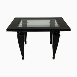 French Black Lacquered Coffee Table, 1940s