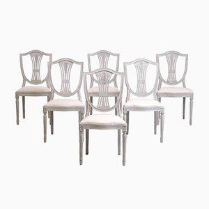 Schwedische Esszimmerstühle im Jugendstil, 6er Set