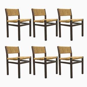 Esszimmerstühle aus Wengeholz & Korbgeflecht von Martin Visser &Walter Antonis für 't Spectrum, 1970er, 6er Set