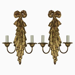 Mid-Century Wandleuchten aus vergoldetem Holz, 2er Set