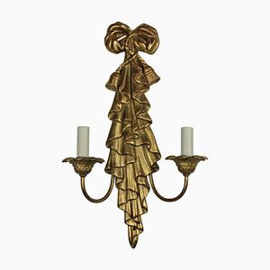 Mid-Century Gilt Wood Sconces, Set of 2