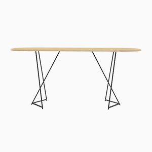 Italic Dining Table in Maple Veneered Laminated Wood Dining Table on Steel Base from CRP.XPN