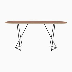 Italic Dining Table in Cherry Veneered Laminated Wood Dining Table on Steel Base from CRP.XPN
