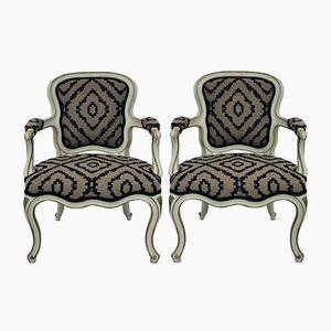Französische Mid-Century Sessel mit bemaltem Gestell, 1950er, 2er Set