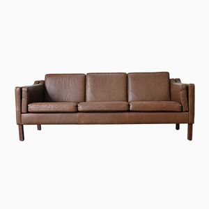 Vintage Danish Dark Brown Leather Sofa, 1960s