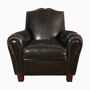 French Leather Moustache Club Chairs, Set of 2