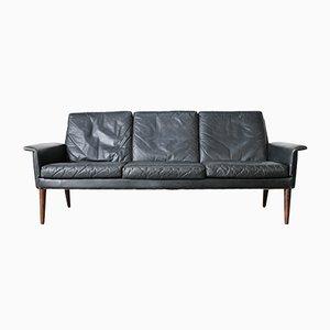 Canapé 3 Places en Cuir Noir par H.W. Klein pour Bramin, Danemark, 1960s