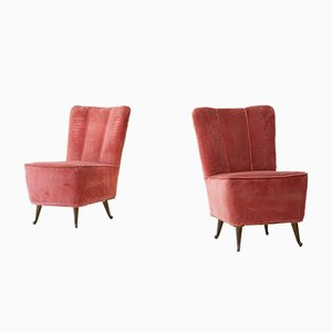 Italian Pink Velvet Easy Chairs from ISA, 1950s, Set of 2