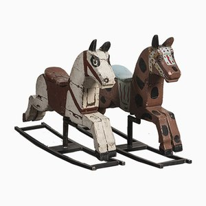 Antique Carousel Rocking Horses, Set of 2