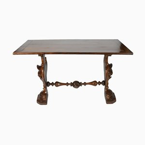 Antique Italian Coffee Table with Carved Feet