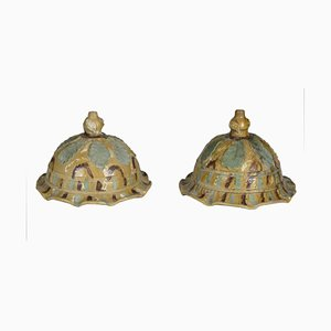 Antique Italian Glazed Vase Holders, Set of 2