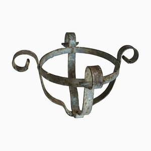 Antique Iron Vase Holders, Set of 2
