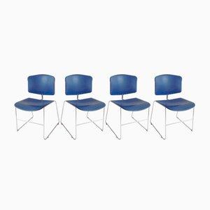 Blaue Vintage Modell Max-Stacker III Stühle von Steelcase, 1980er, 4er Set