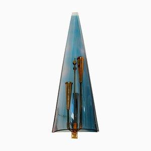 Lámpara de pared de plexiglás azul, años 50