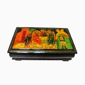 Antique Russian Hand Painted Box, 1900s