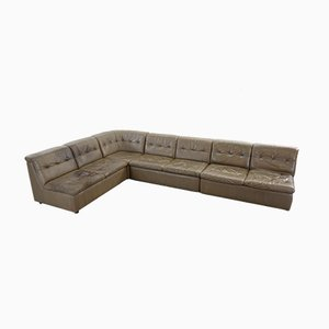 Large Vintage Modular Leather Sofa