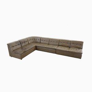 Sofá modular vintage grande de cuero