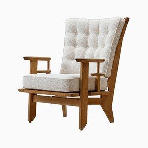 Oak Lounge Chair by Guillerme et Chambron, 1950s