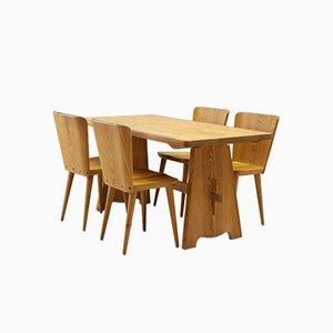 Essgruppe aus Kiefernholz mit Tisch & 4 Stühlen von Goran Malmvall für Karl Andersson & Söner, 1950er