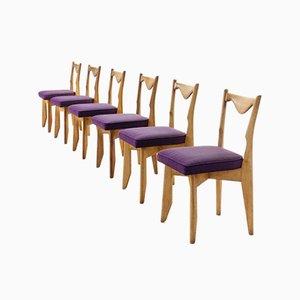 Französische Esszimmerstühle von Guillerme et Chambron, 1960er, 6er Set