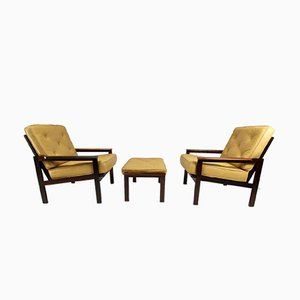 Mid-Century Capella Armchairs & Footstool Set by Illum Wikkelsø for Niels Eilersen, 1960s
