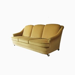 Mid-Century Danish Yellow Velour Sofa, 1960s