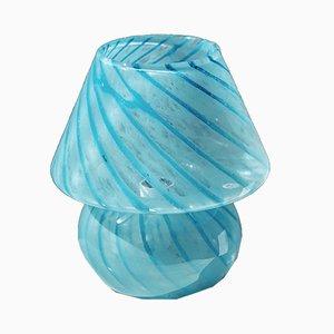 Lámpara de mesa en forma de champiñón de vidrio azul, años 70