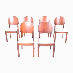 Art Deco Style Dining Chairs, 1940s, Set of 6