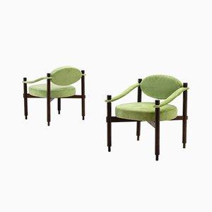 Butacas de terciopelo texturizado verde de Raffaella Crespi Mobilia, años 60. Juego de 2