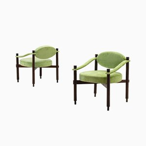 Green Textured Velvet Armchairs by Raffaella Crespi for Mobilia, 1960s, Set of 2