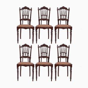 Antike romantische Esszimmerstühle, 6er Set